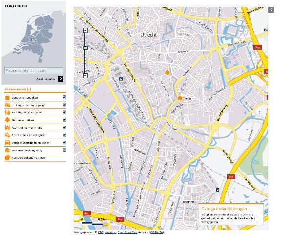 Screenshot of Geozet in action over Utrecht