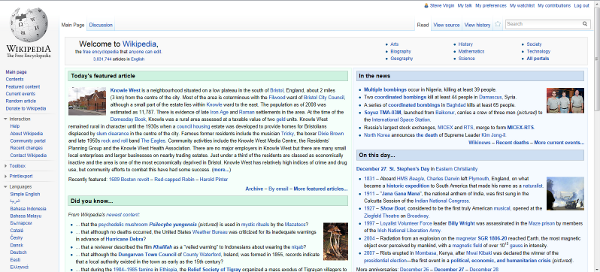 Screenshot of yesterday's Wikipedia main page featuring the Knowle West entry