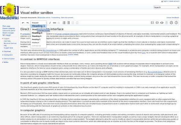 screenshot of Mediawiki visual editor