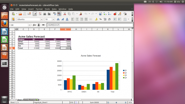 Ubuntu Desktop featuring the LibreOffice Calc spreadsheet