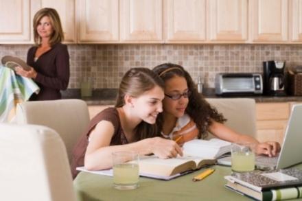 image of children online in kitchen