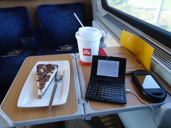 an office at a train seat