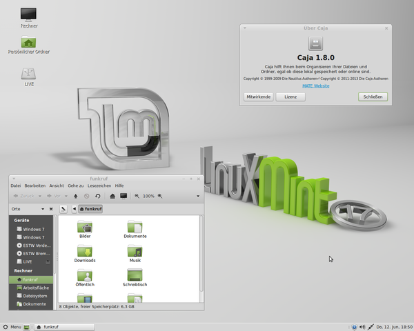 Screenshot of Linux Mint with MATE desktop