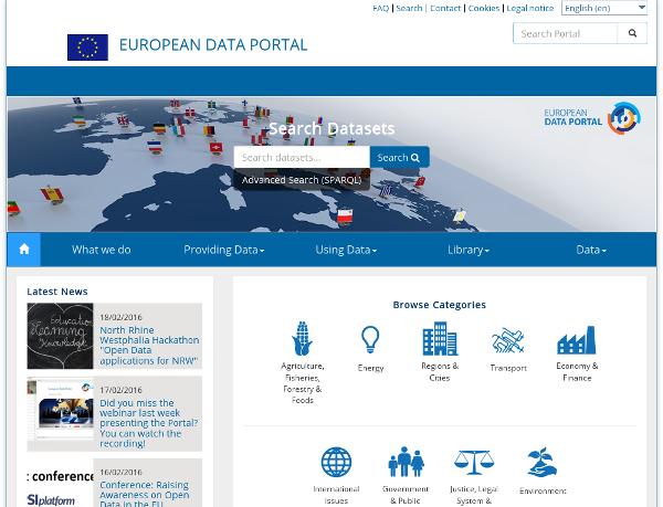 Screenshot of the European Data Portal
