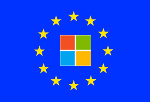 EU flag with MS Windows logo inside circle of stars