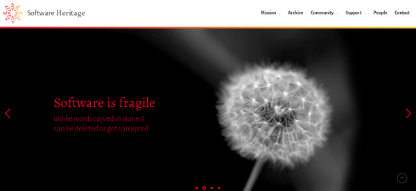 Screenshot of Software Heritage website
