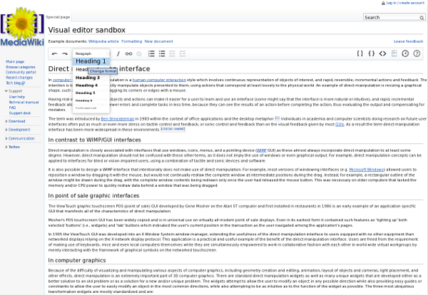 screenshot of Mediawiki visual editor