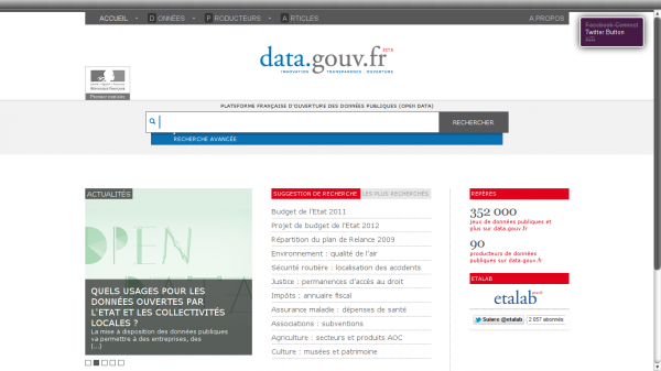 screenshot of French government open data site