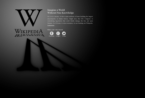 Wikipedia's blacked out website in protest against SOPA & PIPA