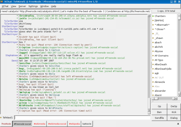 image of xchat irc client
