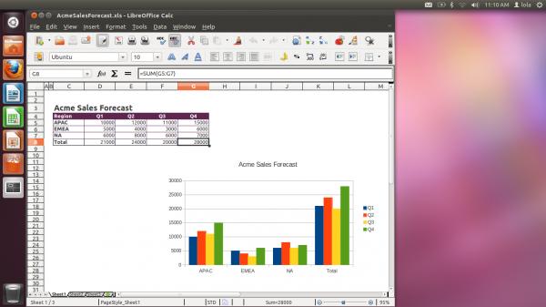 Ubuntu Desktop featuring the LibreOffice Calc spreadsheet