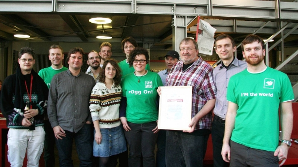 image of the TAZ team receiving Document Freedom Germany Award