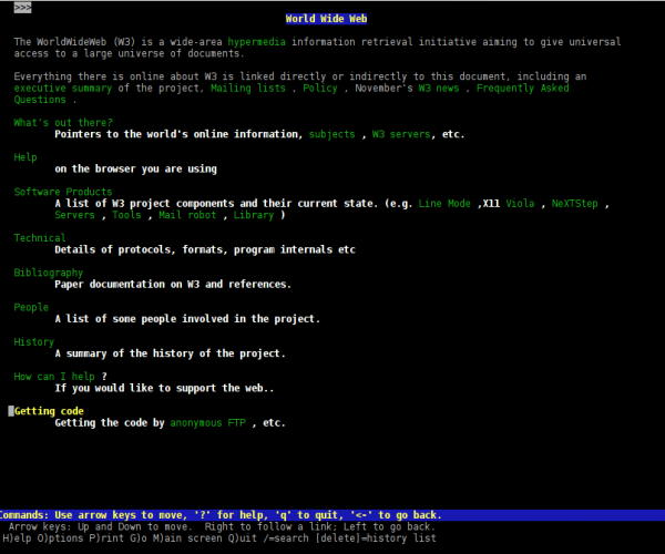 screenshot of the world's first ever home page, as seen in lynx