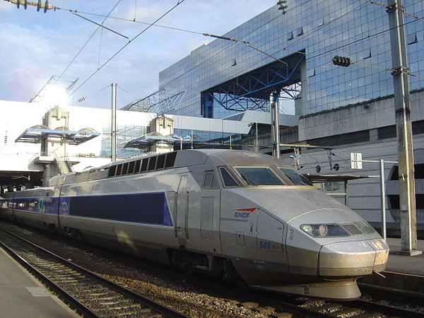 TGV train in Rennes station.