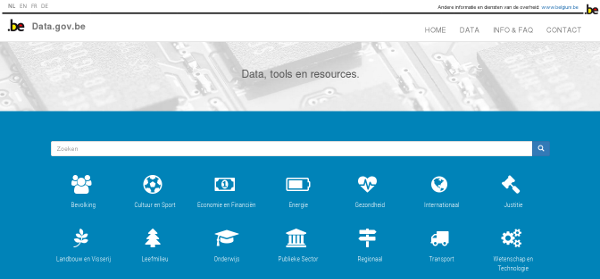 Screenshot of the Belgian open data portal